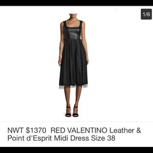 RED Collection Valentino Leather and Tulle Dress
